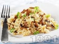 Рецепта Ризото с гъби печурки, масло, домат, бяло вино, морков и кашкавал